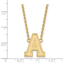 Us West Point Army Black Knights School Letter Pendant Necklace In Yellow Gold