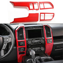 For 2015-2018 Ford F150 Auto Console Center Dashboard Panel Cover Trim Frame Red
