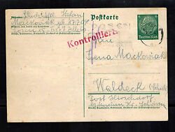 1943 Germany Posen Fort 7 Concentration Camp Postcard Cover To Waldeck Kz