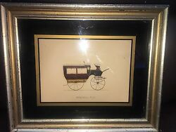 Horse-drawn Carriage Drawing Print Omnibus 104 In Wood Frame Rare Vintage Art