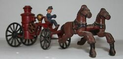 Tin Toy Fire Cart Pulled By Horses Made In Usa Late 19th Early 20th Century