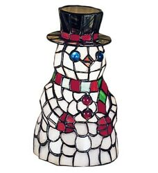 Frosty The Snowman Style Stained Glass 8.5 Meyda Accent Lamp 18461