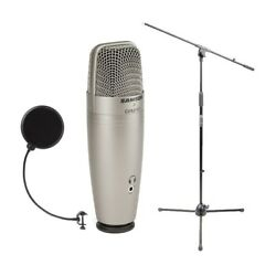Samson C01U USB Studio Condenser Microphone with Mic Stand and Pop Filter