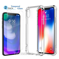 Clear For Apple iPhone XR XS Msx Case TPU Rubber Gel Slim Cover +Tempered Glass