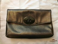 NWOT Coach 33527 Metallic Leather Turnlock Clutch Shoulder Bag Brass $298