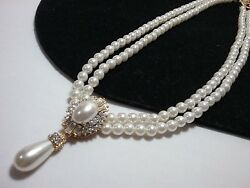 Vintage Gold Estate Art Deco Bridal Rhinestone High End Pearl Necklace