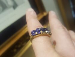 Exquisite 5-piece Victorian Sapphires Mounted Ornate 18carat Gold Ring