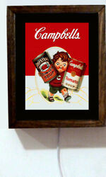 Campbell's Soup Campbells Kid Tomato Can Wood Advertising Light Lighted Sign