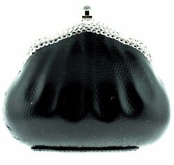 Black Leather Evening Bag Crystallized Swarovski Crystals Clutch Shoulder Strap