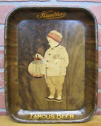Antique Kuebler's Famous Beer Advertising Tray Easton Penna American Art Works O