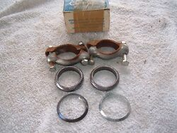 Nos Pair Volkswagen Vw Tail Pipe Clamps With Attaching Hardware 68 69 70 71
