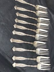 Stunning Rare Complete Set Of 11 6 1/4 Salad Forks In Whiting Dresden Pattern