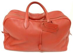 AUTHENTIC! HERMES 50CM VICTORIA RED CLEMENCE TRAVEL TOTE GHW HANDBAG YEAR 1998