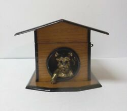 Antique Oak Novelty Dog In Dog House Cigar Box, Fitted Interior