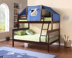 Donco Kids Mission Bunk Bed Dark Cappuccino TwinFull WBLUE TENT