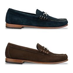 G.h Bass Weejuns Shoes - Palm Springs Lincoln Reverso Suede Shoes - Navy, Brown