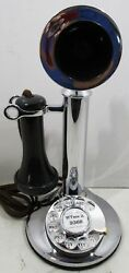Western Electric Candlestick Rotary Dial 50AL Chrome Plated Circa 1920#x27;s