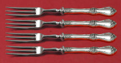 Royal Rose By Wallace Sterling Silver Fruit Fork Set 4-piece Custom Made 6