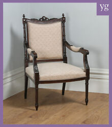 Antique French Louis Xvi Style Carved Solid Walnut Salon Occasional Armchair