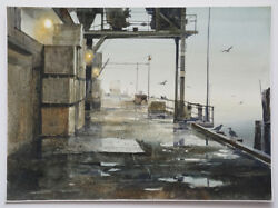 Fine Watercolor Industrial Environment Painting by Ritchie A. Bensen (1941- 96)