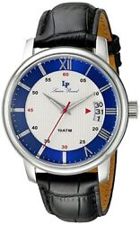 Lucien Piccard Amici Black Genuine Leather White And Blue Dial Ss Case Brand New