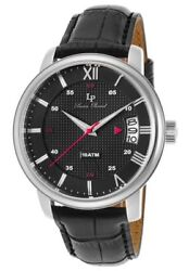 Lucien Piccard Watch Amici Black Genuine Leather Black Dial Ss Case Brand New