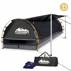 NEW Camping Outdoor Canvas Swag Tent with Mattress & Air Pillow Double Dark Grey