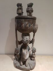 African Yoruba Wood Offering Pot With Equestrian Figure. Nigeria. Andpound550.00 Off