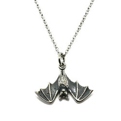 Hanging Bat Charm Pendant Necklace-925 Sterling Silver