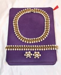 MAGNIFICENT FRENCH 18K GOLD SAPPHIRE PEARL NECKLACE BRACELET & PAIR EARRINGS