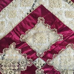 Antique Lace Silk Bed Throw Cover Spread Burgundy Gold Beautiful