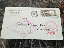 1930 Usa Graf Zeppelin Cover Around The World To Germany C14 With Letter Route