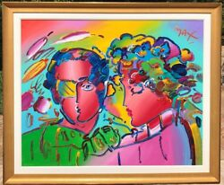 Large Peter Max Original Painting ZERO IN LOVE Acrylic on Canvas 60 x 48