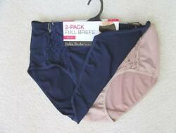 DELTA BURKE Size 8 (1X) Two (2) Microfiber with Lace Panel Full Brief -NavyCafe