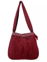 Red Handwoven Cotton Shoulder Bag XMAS Gift for Women Girl Zipper Pocket Casual