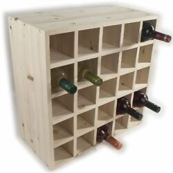 Wooden Wine Rack Storage Holder  25 Bottle Capacity  Natural Pine To Decorate