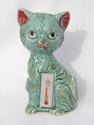 Vintage Ceramic Green Cat or Kitten Thermometer Figure marked Japan