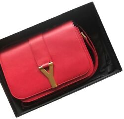 Authentic YSL Yves Saint Laurent Sac Ligne Flap Red Leather Cross Body Bag