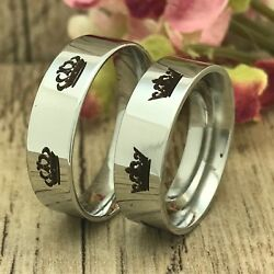 6mm His And Her Stainless Steel Rings, Personalize Stainless Steel Rings, Pipe Cut