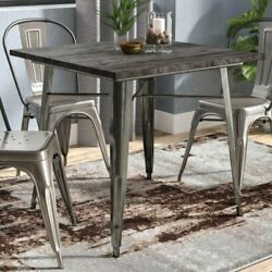 Industrial Small Dining Table Wood Top Vintage Antique Gun Metal Brown 4 Person