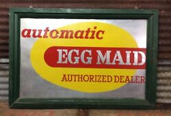 Antique Vtg 40s-50s EGG MAID Authorize Dealer Metal Wood Framed Sign Chicken 25