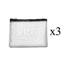 x3 Victoria#x27;s Secret Pink Cosmetic Vinyl Bag Clutch Clear Bubble Sparkle New $32.95