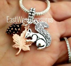Fall Thanksgiving Maple Leaf Pine Cone Tree Squirrel Charm Bracelet Necklace