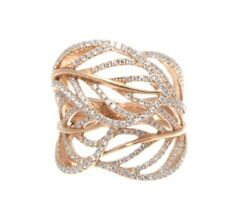 18k Rose Gold And Diamond Leaf Ring 0.96 Cts. 10.79 Grams Size 6.5