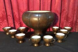 Vintage Clewell Copper Clad Art Pottery Punch Bowl Set With 10 Cups