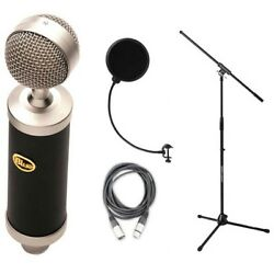 Blue BabyBottle Condenser Microphone w Pop Filter Shockmount Stand Cable