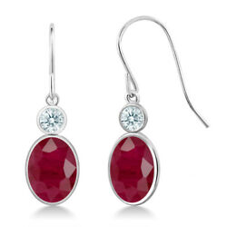 3.42 Ct Red 14K White Gold Earrings Made With Swarovski Zirconia