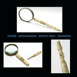 Rare Old Bone Magnifying Glass + Pencil Stanhope Viewer Mar Del Plata Argentina