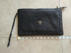 Super Rare 100% AUTHENTIC CHROME HEARTS Clutch Leather Purse bag silver