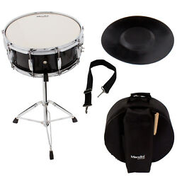 Mendini Student Black Snare Drum Set with Gig BagSticksStandPractice Pad Kit